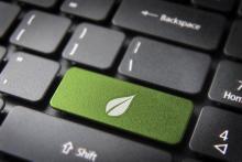touches d'ordinateur avec le logo développement durable